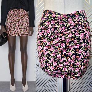 Zara Black Pink Floral Print Ruched Mini Skirt